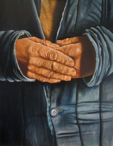 tired hands oil on canvas painting